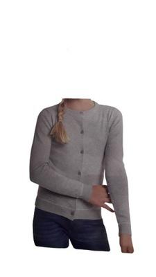 Sweterek dziewczęcy krótki szary r. 146