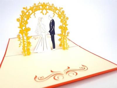 Открытки 3D Молодая Пара под золото дугой с цветами