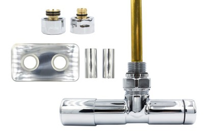 Chrómový regulačný ventil Unico 50 mm + konektory PEX + rozety vľavo