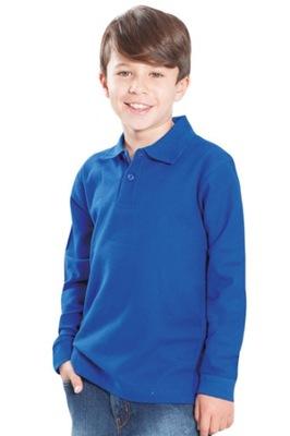 Koszulka Polo długi rękaw Dziecięca Blue 9/11 lat