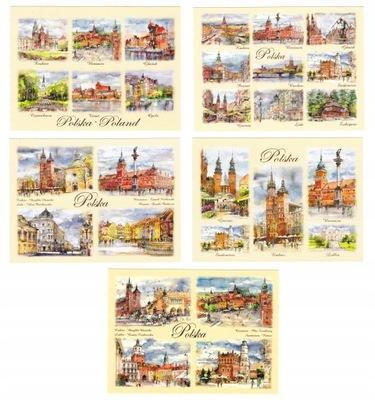 POLSKA zestaw pocztówek miasta akwarele 5 szt
