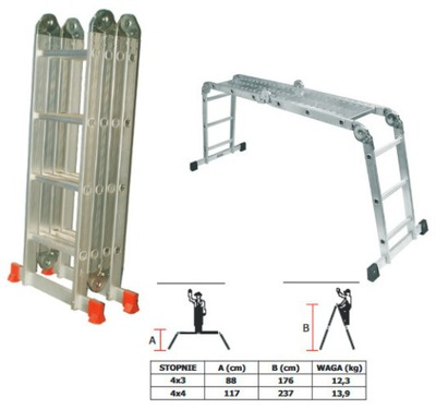 Przegubowa hliníkový rebrík 4x3 kroky