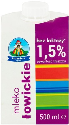 Mleko UHT Łowickie Łowicz bez laktozy 1.5% 0.5l