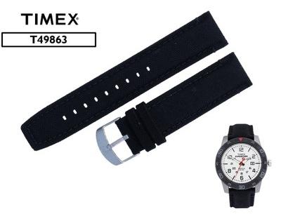 Oryginał Pasek TIMEX T49863 skóra + materiał 22mm