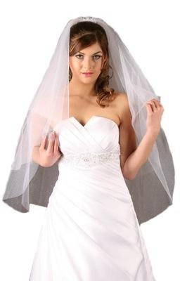 Welon ślubny biały ecru brokatem ślub 75 cm długi