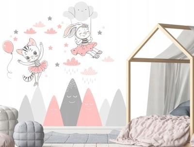 Samolepky na stenu pre deti mačky hory mraky