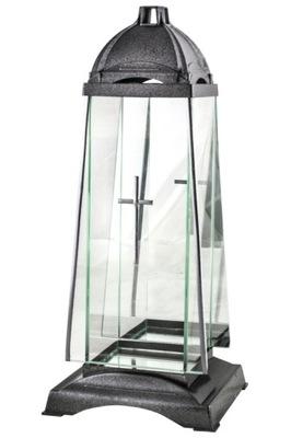 Znicz Kapliczka Szklany lampion z lustrem 38cm