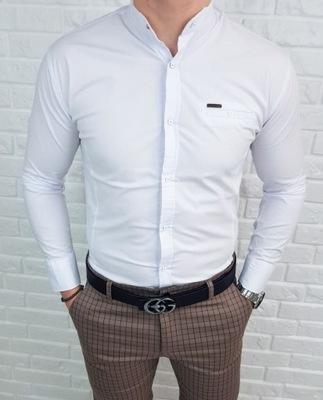 Biala meska koszula stojka ozdobna kieszonka - M