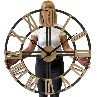 Wielki cichy zegar ścienny czarny LOFT GRANDE 80cm
