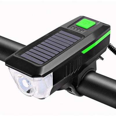SOLAR LAMPKA ROWEROWA LED USB + KLAKSON
