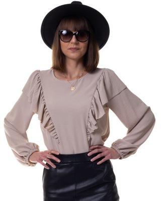 elegancka bluzka z falbankami POLSKA beżowa 38