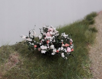 Krzewy na makietę - kwitnące biało czerwone 2szt