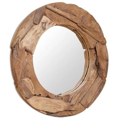 Okrúhle dekoratívne zrkadlo, teakové drevo, 80 cm