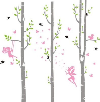 Detské nálepky na stenu brezových lesných víl