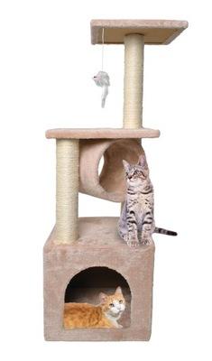 Veža so škrabadlom pre mačku, 90 cm, béžový dom