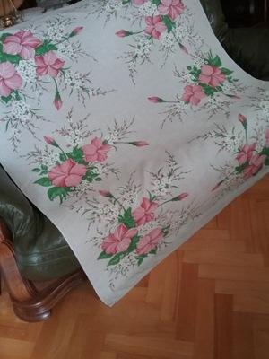 ЛЬНЯНОЙ СКАТЕРТЬ В цветы ГИБИСКУСА, так называемой instagram розочки