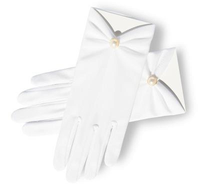 Białe Rękawiczki Komunijne zdobione koronka haft