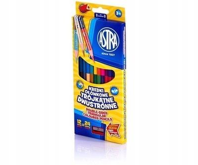 Kredki Trójkątne 12 ołówkowe dwustronne ASTRA