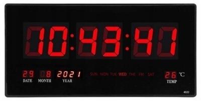 Duży Zegar Ścienny Cyfrowy LED Data Termometr 45cm