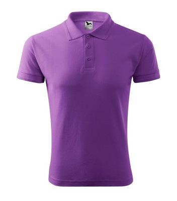 Adler Koszulka Polo 203 Jakość HAFT M fioletowy