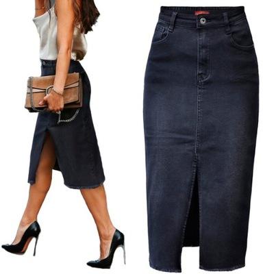 #30781 Spódnica JEANS denim ołówkowa rozcięcie XL