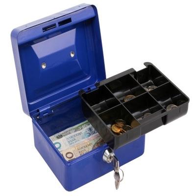 Metalowa kasetka na banknoty, bilon sejf na klucz