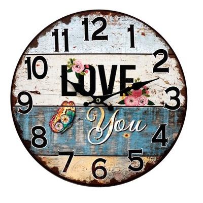 Zegar wiszący postarzany na ścianę niebieski 34cm