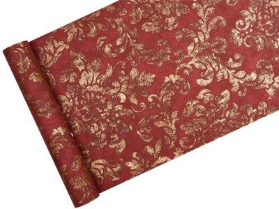 Tapeta - POSTARZANY ORNAMENT czerwono-złoty
