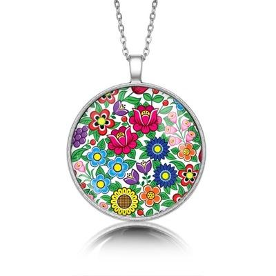 Медальон круглый цветы ZALIPIA полевые народные народные