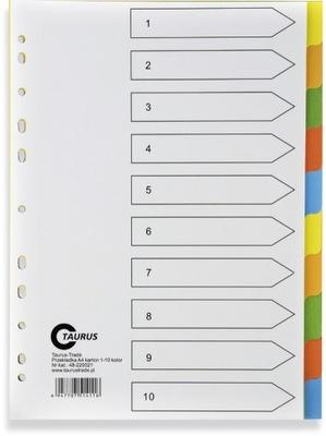 Przekładki do segregatora 1-10 karton indeks 5 kol