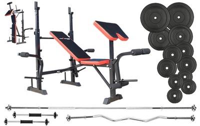 Sada na cvičenie s lavičkou 86 kg s NEGATÍVNYM sklonom