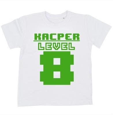Koszulka na 8 urodziny LEVEL 8+IMIĘ 134 minecraft