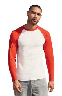 MĘSKA koszulka dł.rękaw BASEBALL biały/czerw 3XL