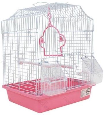 клетка 958 для птиц попугаи канарейки маленькая розовая