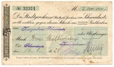 СВИДНИЦА Schweidnitz Kreisgirokasse 2 Millionen Марк