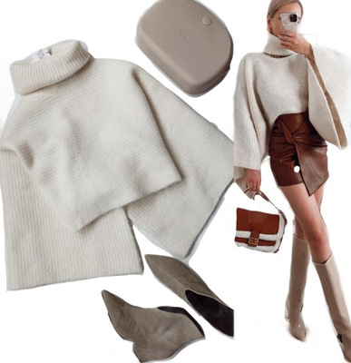 Sweter Zara s 36 alpaka wełna szerokie rękawy ecru