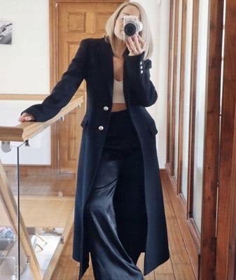 długi wełniany płaszcz taliowany Zara S/36