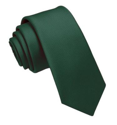 Elegancki KRAWAT wąski zielony/ BUTELKOWA ZIELEŃ