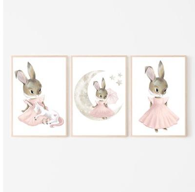 комплект 3 изображения A3 плакаты пастельный кролик