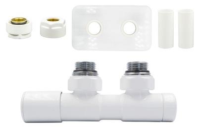 Regulačný ventil Dvojčatá 50 mm biele + konektor Cu + rozety vľavo