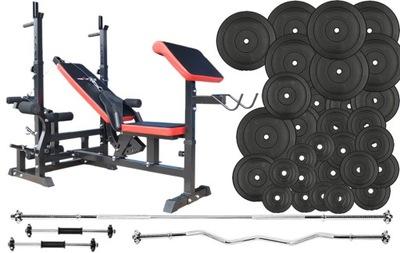 Cvičebná súprava činka s hmotnosťou 195 kg MASSIVE BENCH