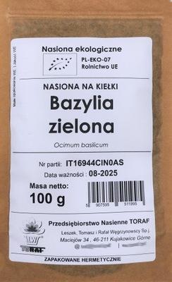 BAZYLIA ZIELONA nasiona na kiełki EKOLOGICZNE 100g