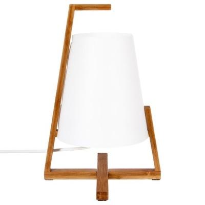 LAMPKA STOŁOWA NA BAMBUSOWEJ PODSTAWIE BIAŁA LAMPA