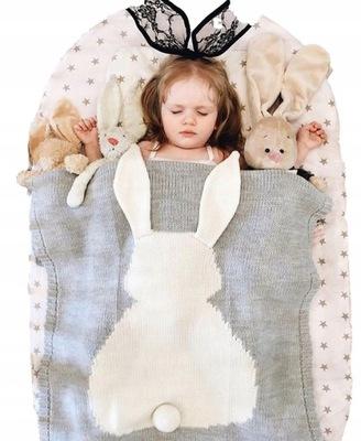 одеяло ОДЕЯЛО ПЛЕТЕНЫЙ ДЛЯ ДЕТЕЙ кролик УШИ ХВОСТИК