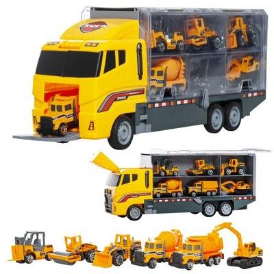 Zestaw Ciężarówka Tir Laweta + 6 Aut Auta Maszyny