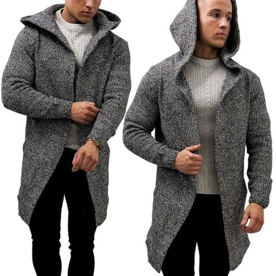 Kardigan z kapturem Narzutka Sweter Bluza Melanż