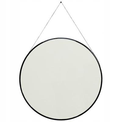 Čierne okrúhle zrkadlo / kruh na retiazke, opasok 90
