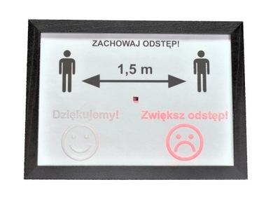 Zachowaj Odstęp! interaktywny znak z czujnikiem