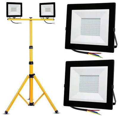 Naświetlacz Halogen Lampa LED 2x 50W + statyw