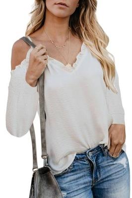 Bluzka, opadający rękaw, falbanki (1) L/XL
